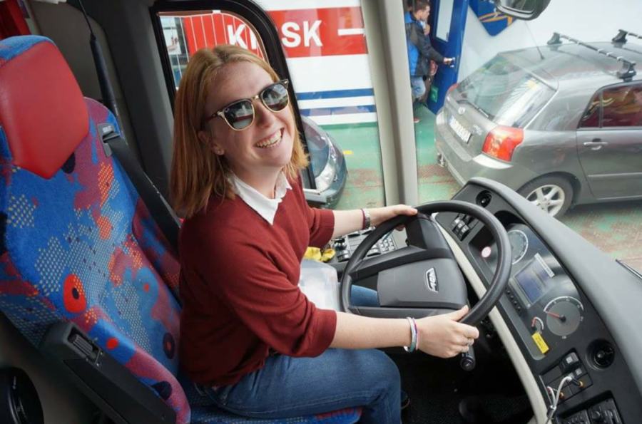 Pictured: me (pretending to) drive the Contiki bus