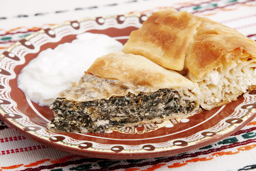 Zelnik is Bulgarian traditional meal - green herbs baked in dough served with yogurt