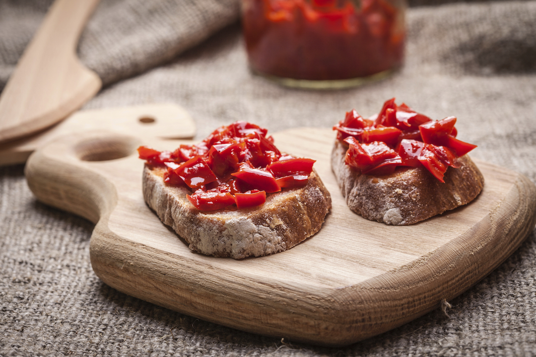 Ajvar - delicious dish of red peppers, onions and garlic.
