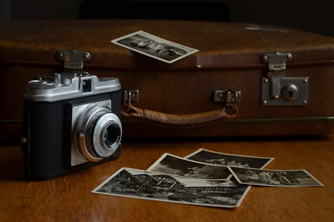 vintage suitcase and photo