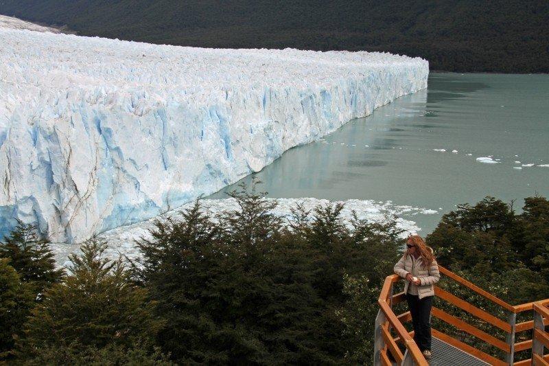 Person overlooking glacier in Patagonia
