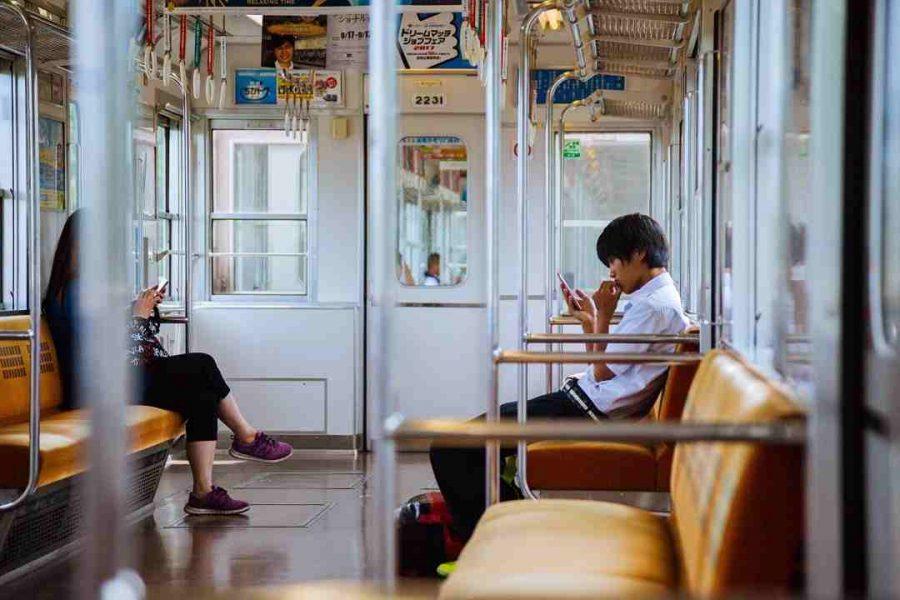 man in train