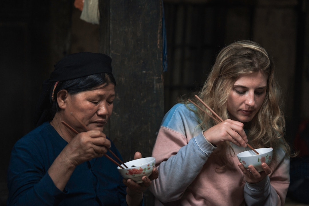 eating noodles in vietnam