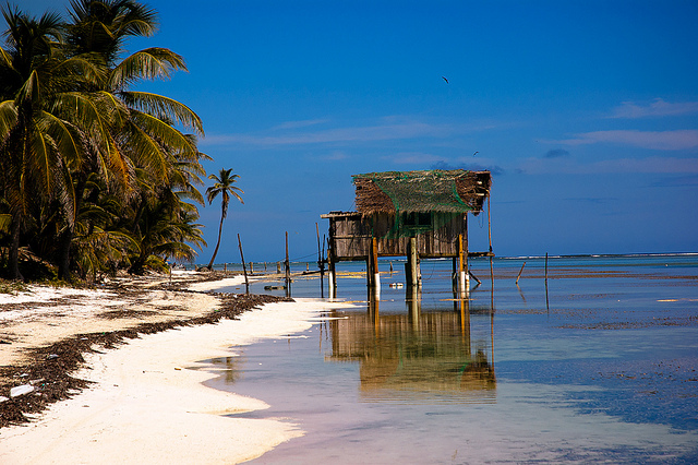 A beach shack on sticks known as Turtleman's House sits in the shallows