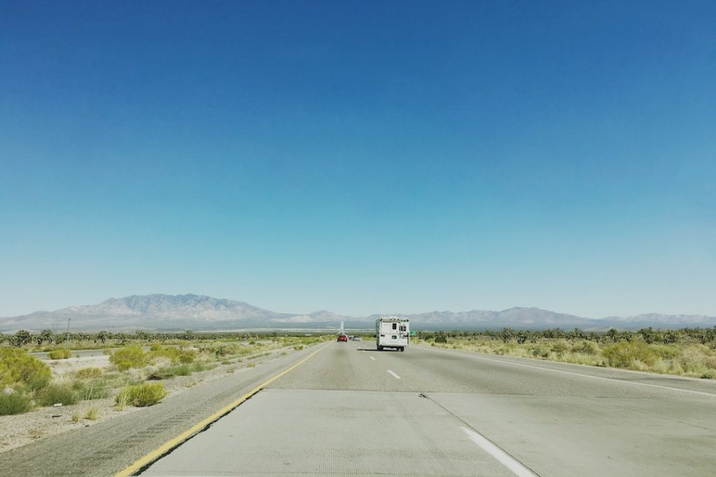 A highway in the USA leading to the vast landscape