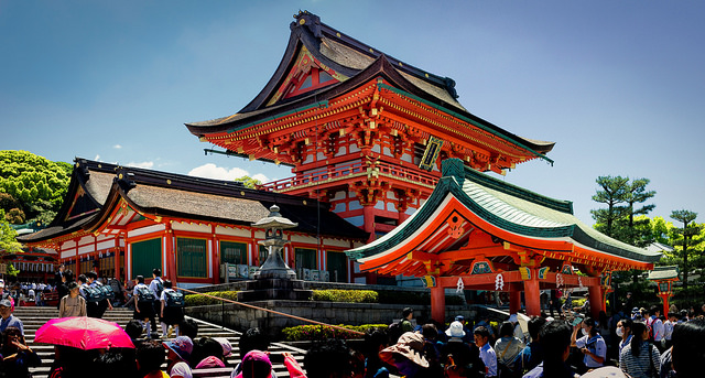 colourful traditional red Japanese shrine