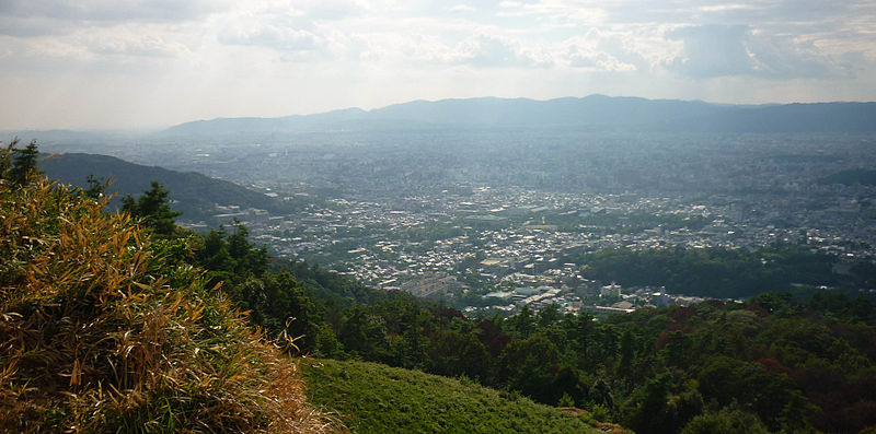 Cityscape of Kyoto as seen from the fire bed of Gozan no okuribi on Mount Daimonji