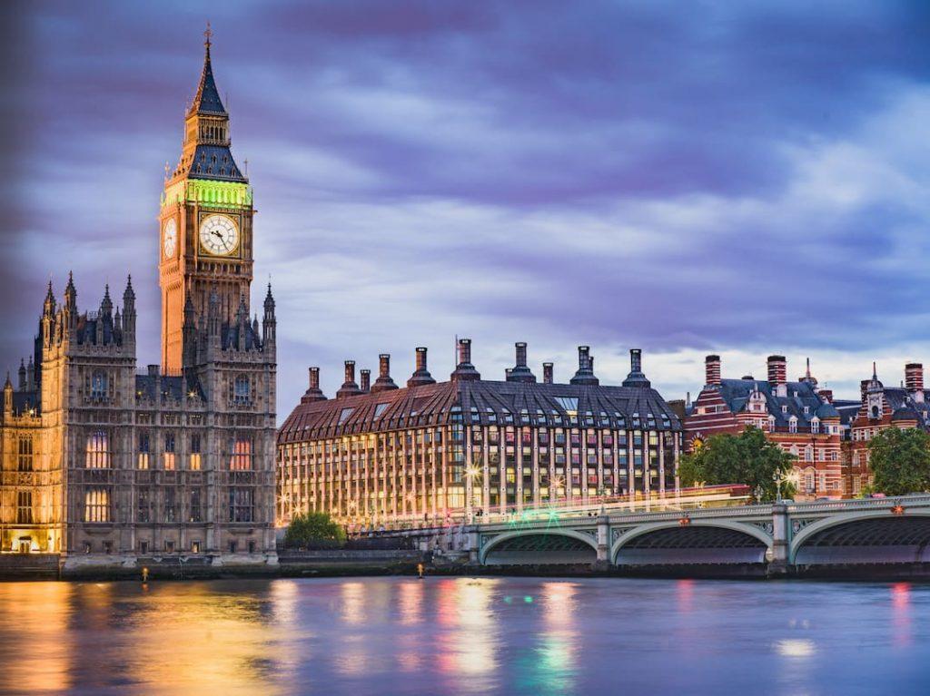 london's iconic skyline including big ben at dusk