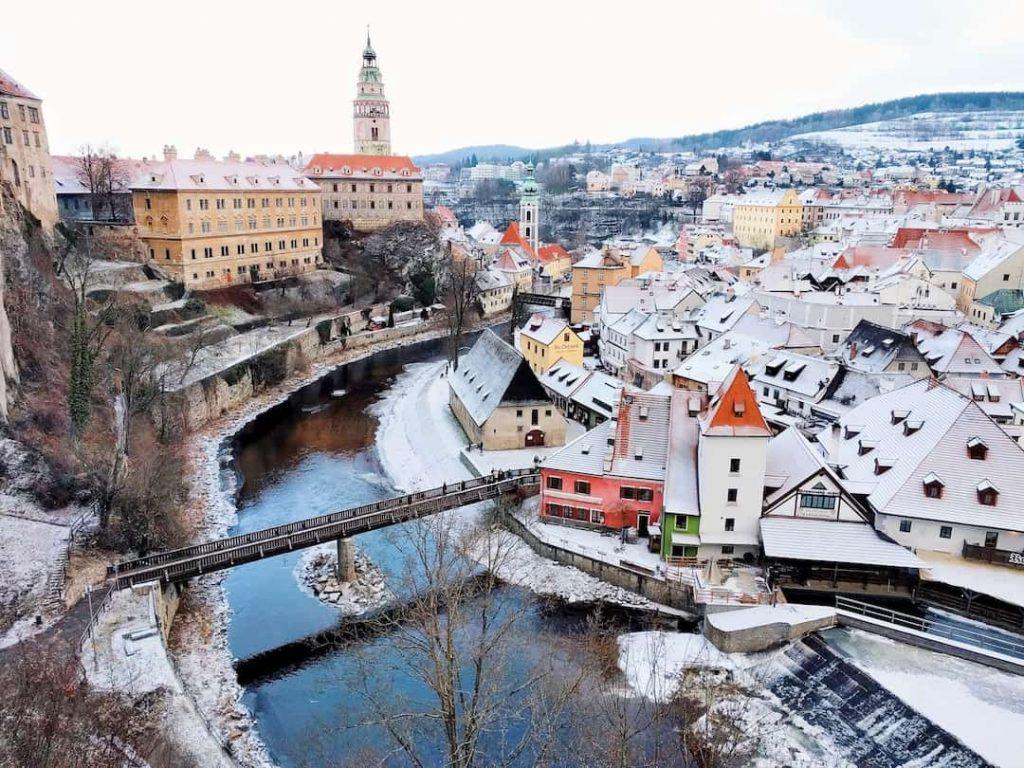 Snowcapped homes in the village of Cesky Krumlov, Czech Republic