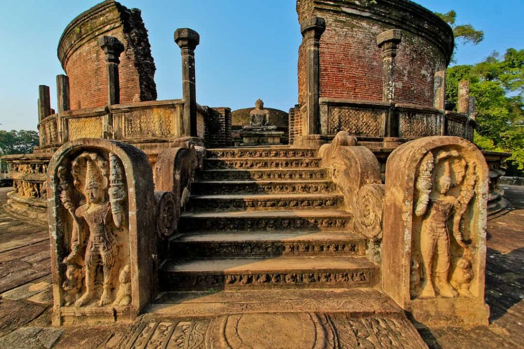 Polonnaruwa ruins in the day with stone embellishments