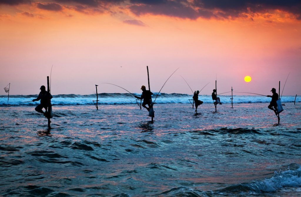 Several stilt fishermen are perched in the sea below and orange-hued sky