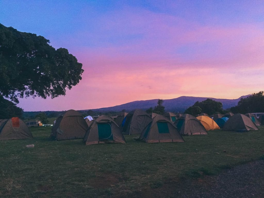 Sunrise over tents in the Nogorongoro Crater