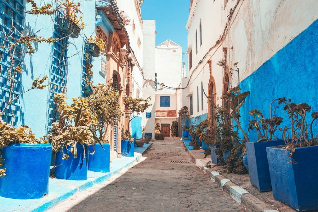 Rows of blue houses in the famous blue city of Kasbah des Oudaias in Morocco