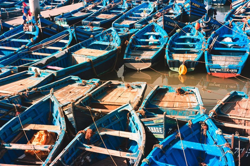 Fishermen boats sit in the harbour waiting for the hustle and bustle of workers the following morning