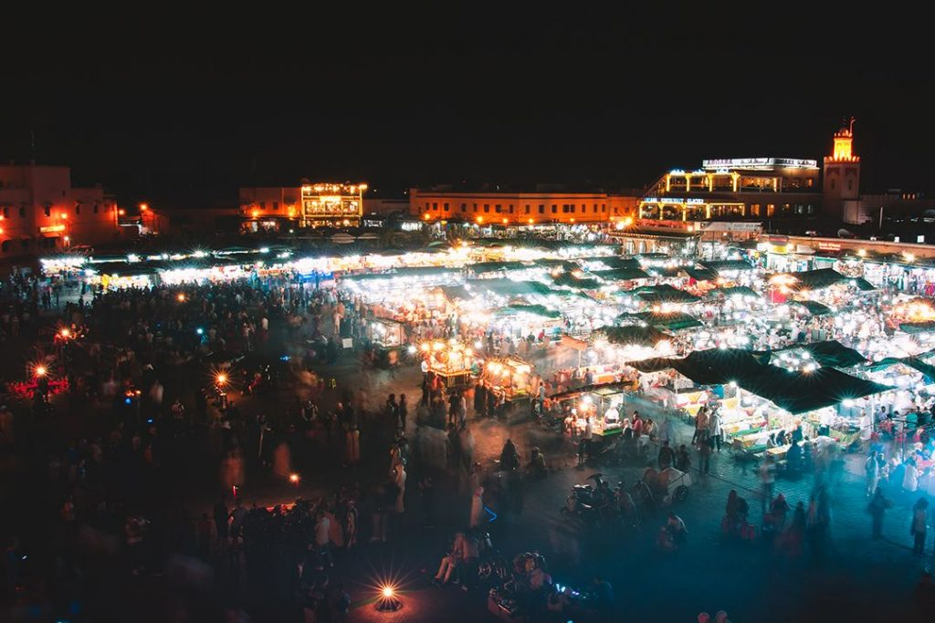 Night falls on Jemaa El-Fnna, Marrakech's famous local market