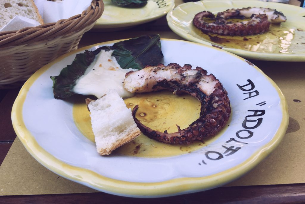 Grilled octopus and smoked lemon leaf mozzarella from Da Adolfo in Positano