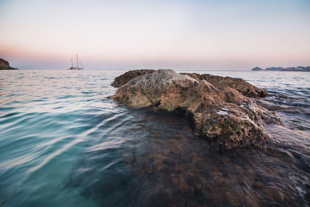 A rock in the sea at Gibralfaro, Malaga, Spain