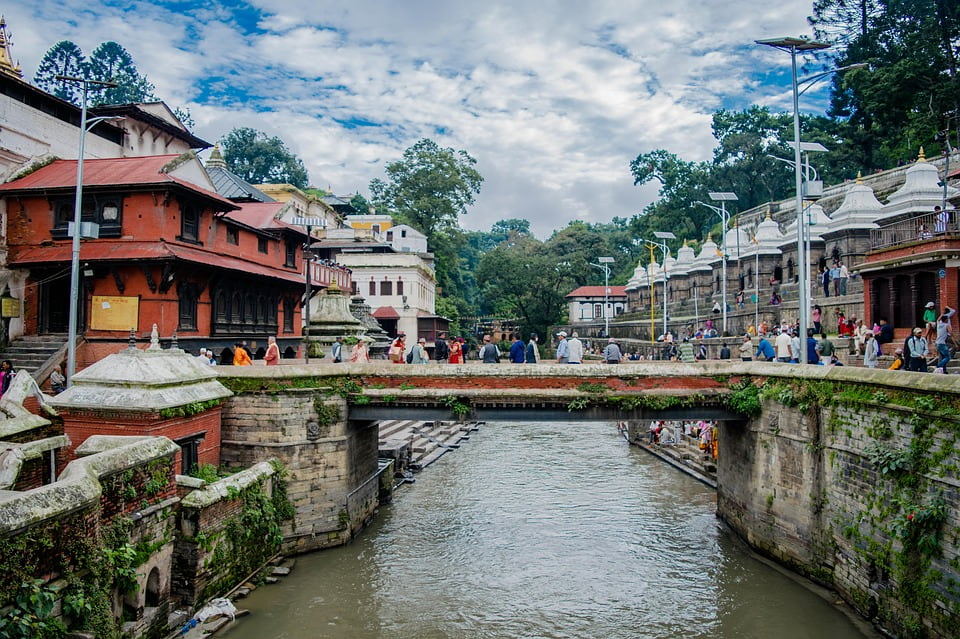 A shot of the bridge by The sacred Pashupatinath Temple in Kathmandu Valley