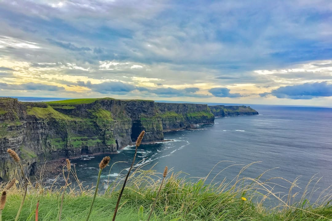A view of the cliffs of moher on a cloudy day