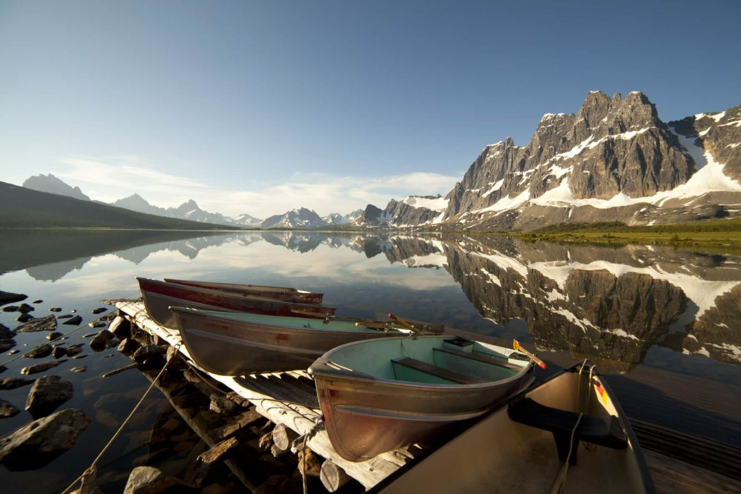 Lake and canoes in Jasper National Park