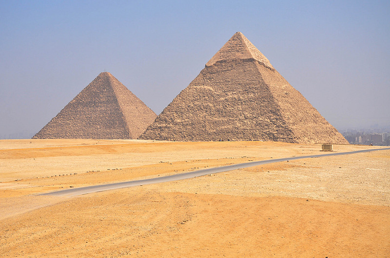 Pyramid of Cheops behind Chephren