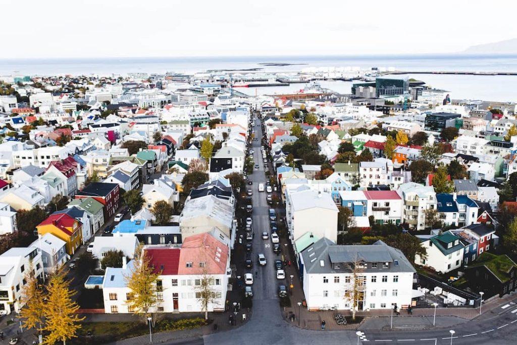 an arial shot of Reykjavik, Iceland
