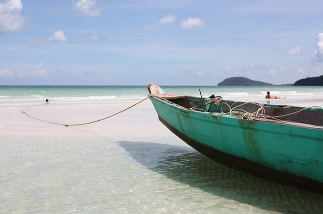 Boat sitting on the beach in Phu Quoc
