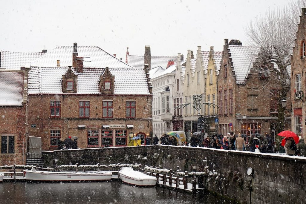 The town of Bruges, Belgium in the winter
