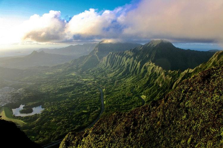 birds-eye view of Haiku Stairs (Escaleras al Cielo), Kaneohe, United States