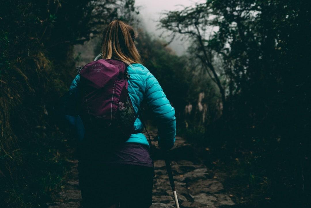 The back of a woman hiking the Inca Trail, Peru