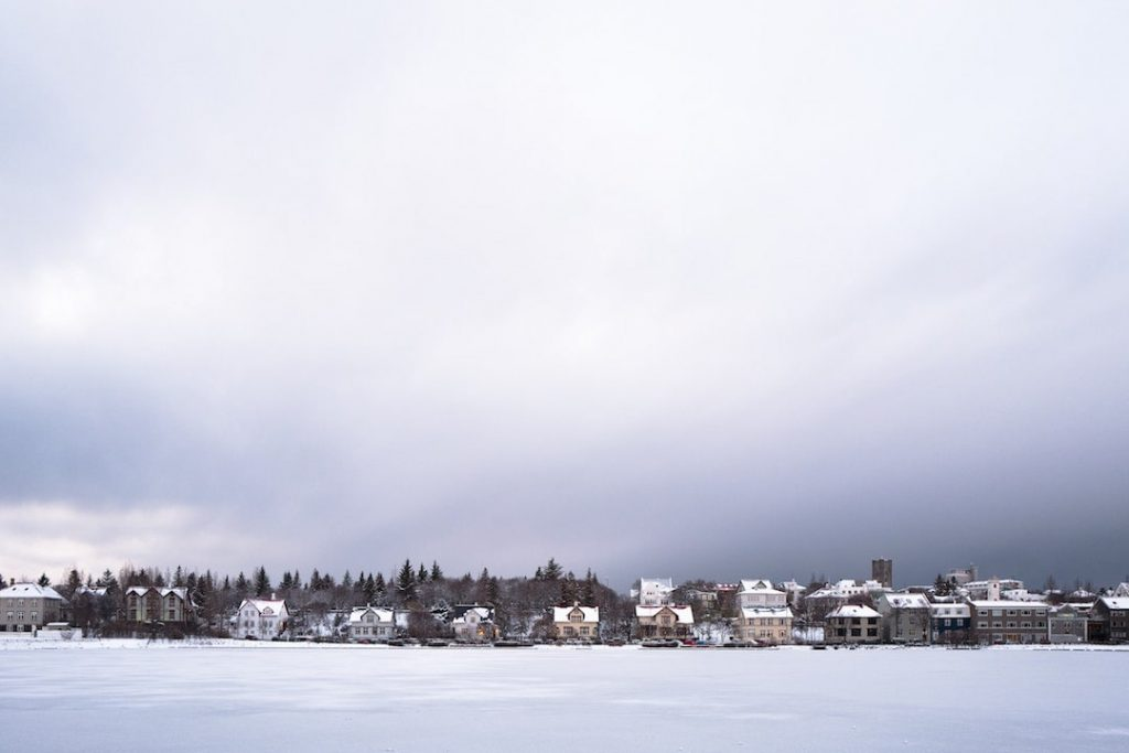 The city of Reykjavik on a winter's day in Iceland