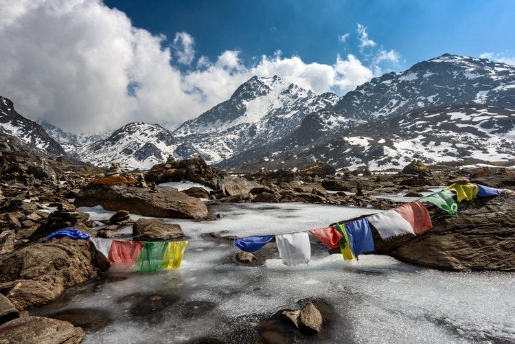 colour flags above Lake Gosaikunda, Langtang National Park