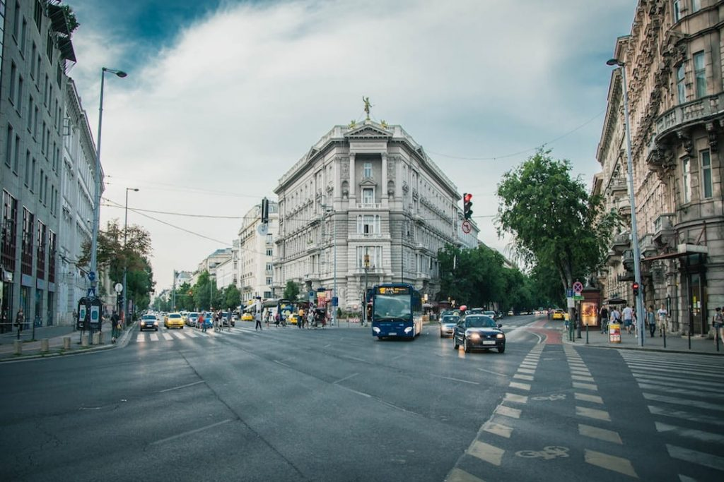 An intersection in Budapest, Hungary