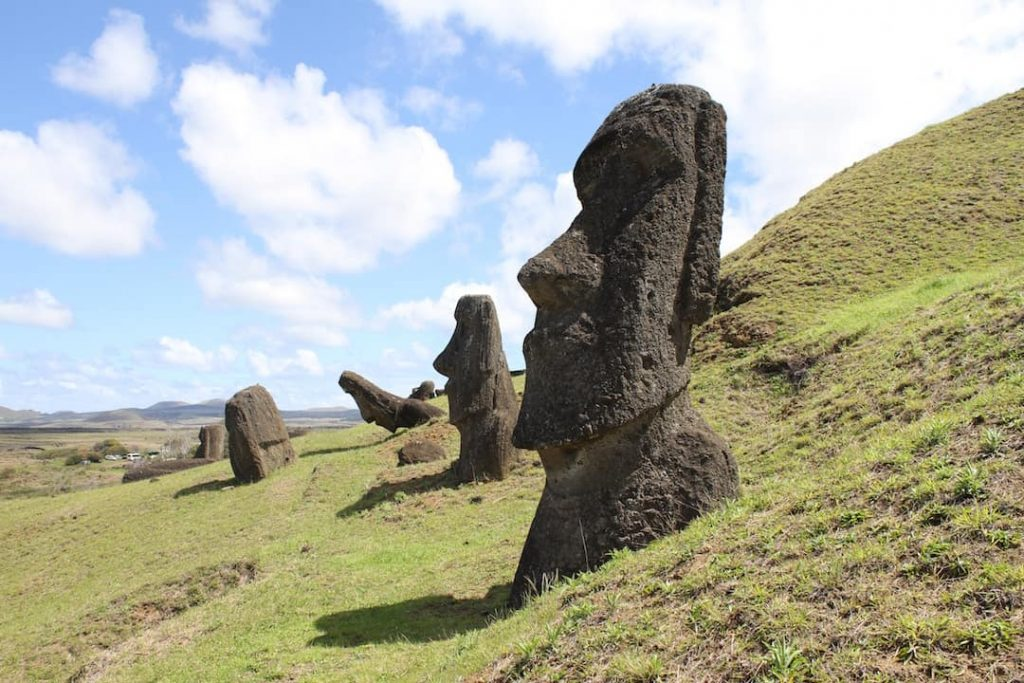 Statues in Easter Island in Chile