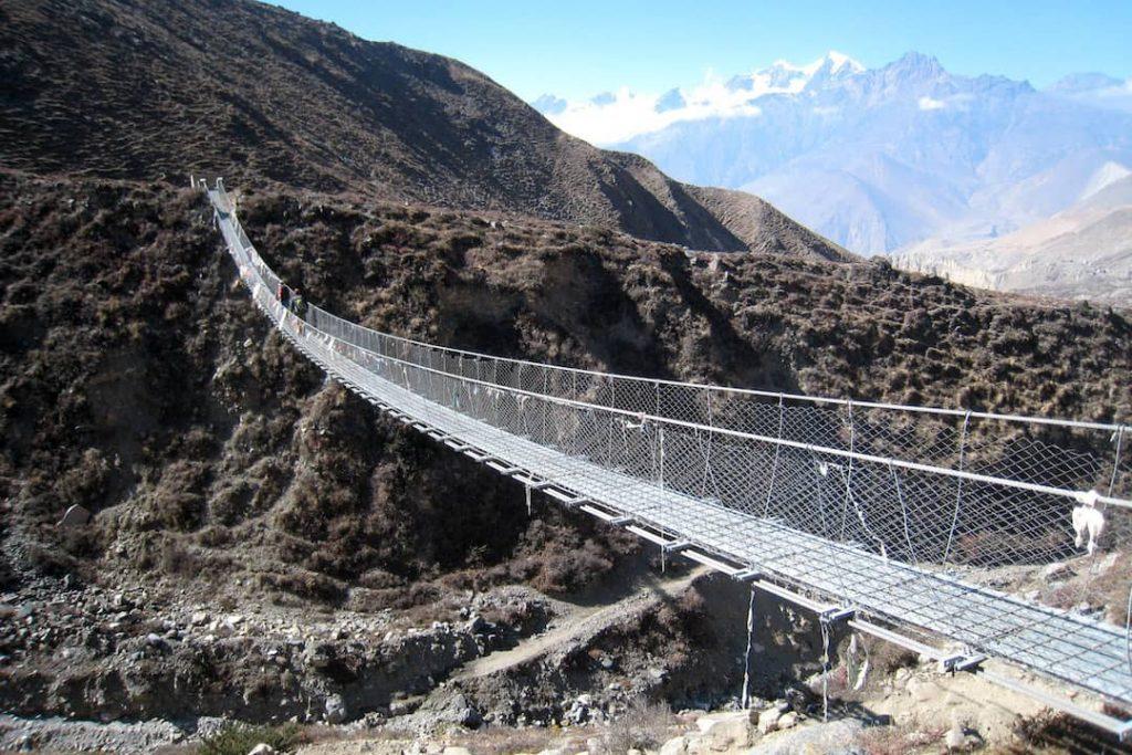 A suspension brige on the Annapurna Circuit, Nepal