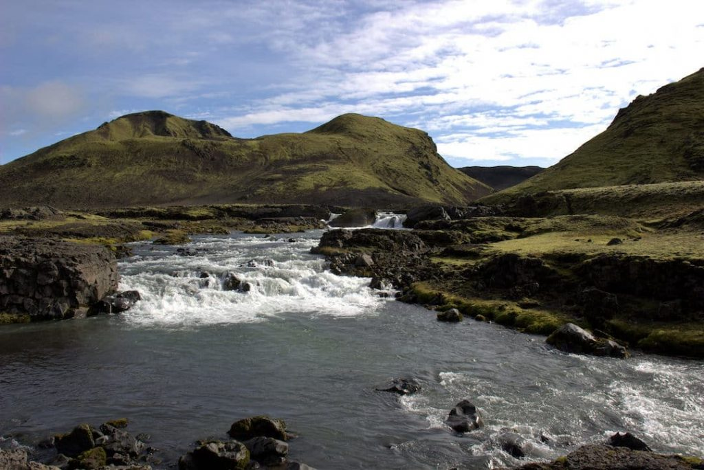 A waterfall on the Laugavegur Trail, Iceland