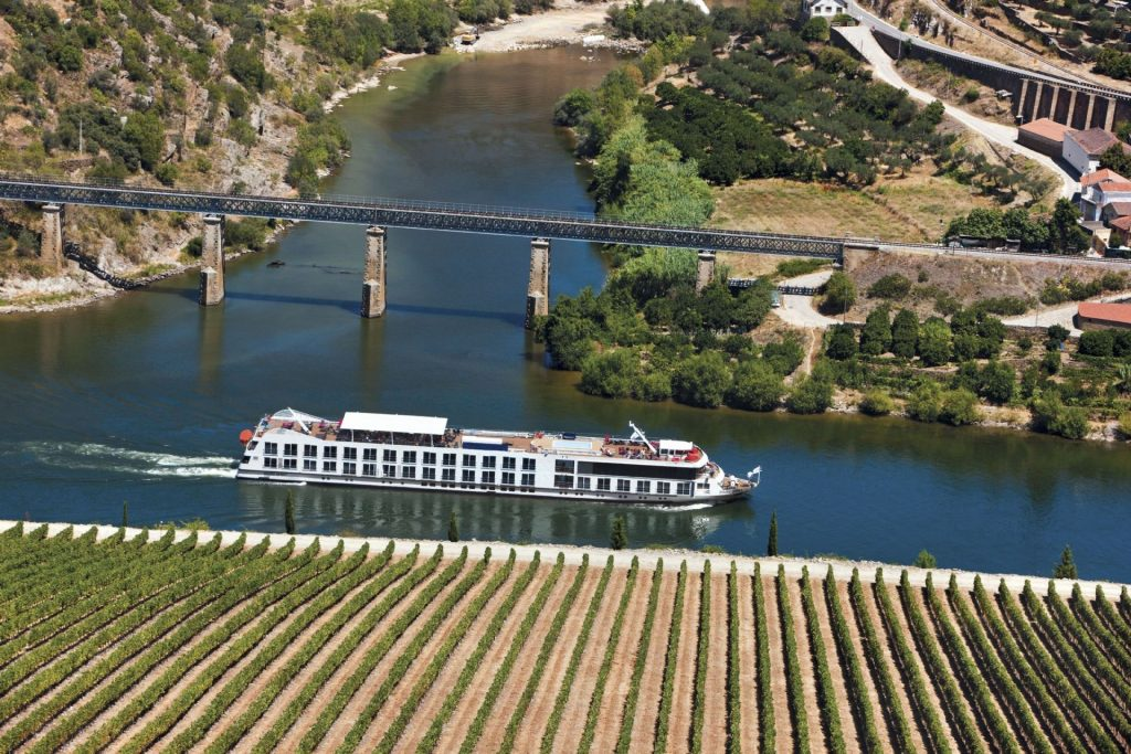 cruise ship sails along a river past green fields