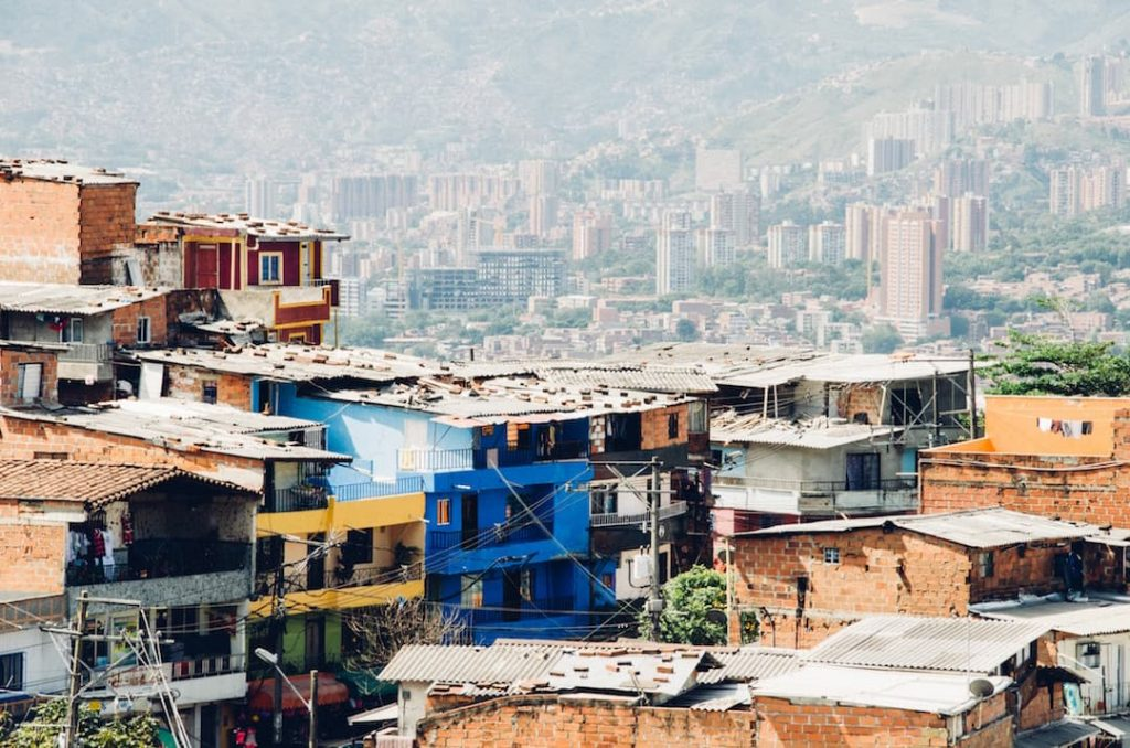View of the colourful buildings in Colombia
