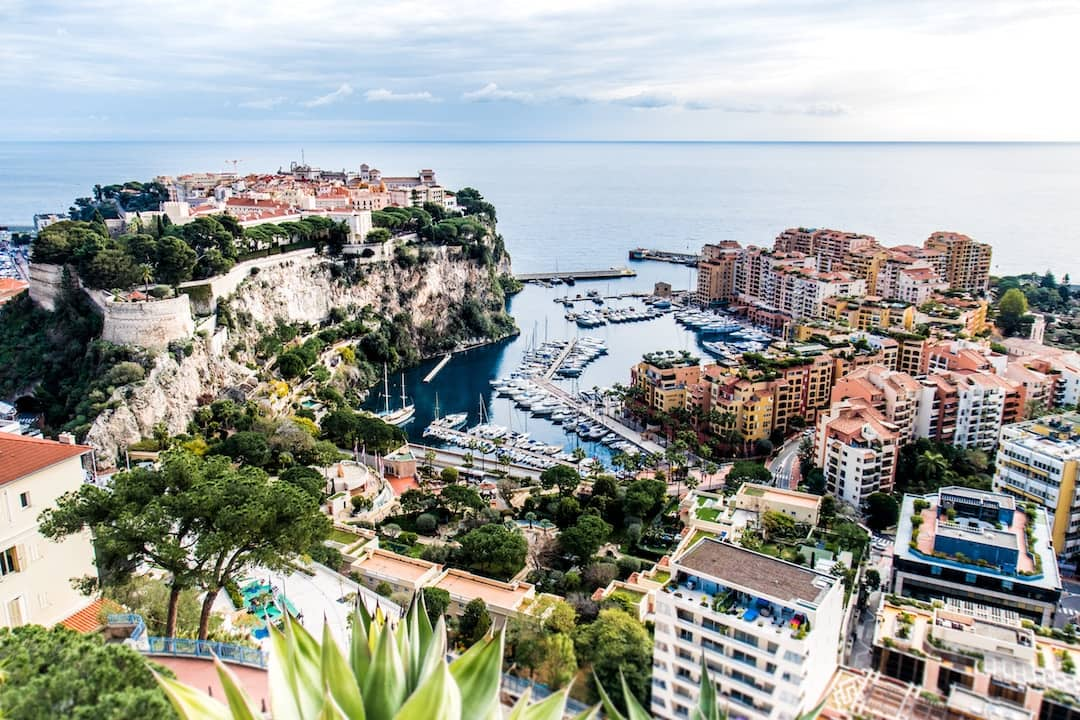 An arial shot of Monaco by the ocean