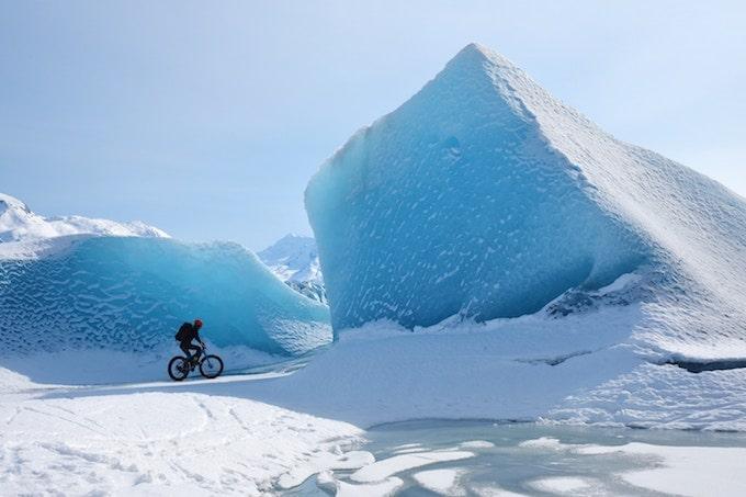 A cyclist on Knik Glacier, Anchorage, US