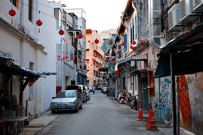 Red lanterns hanging from buildings in Kuala Lumpur