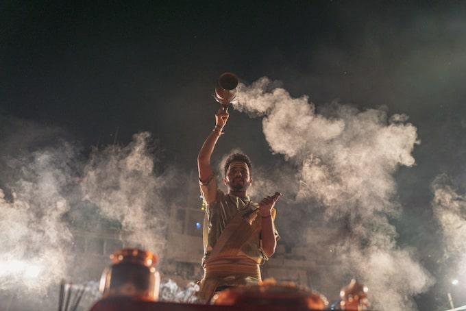 A man performing a ceremony in Varanasi, India