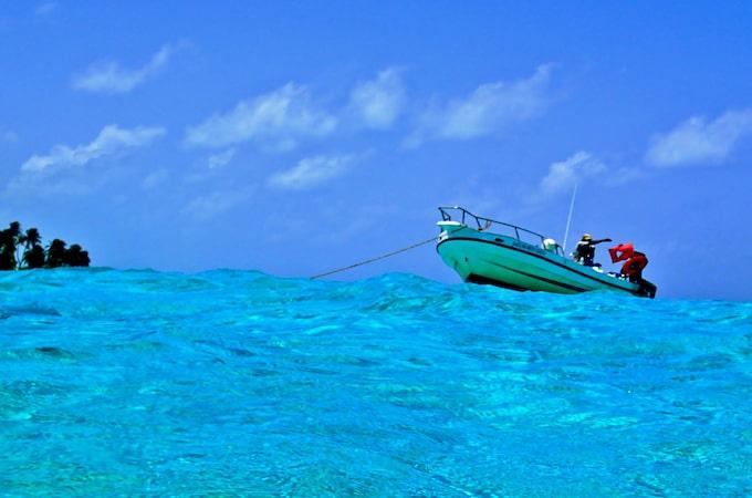 A boat in the ocean in Belize