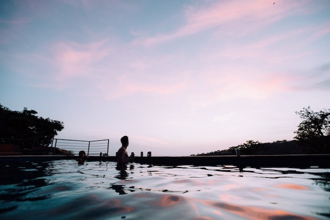 A couple in an infinity pool in Nicaragua