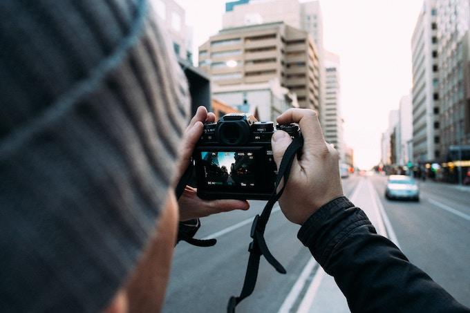The view of a city through a digital camera