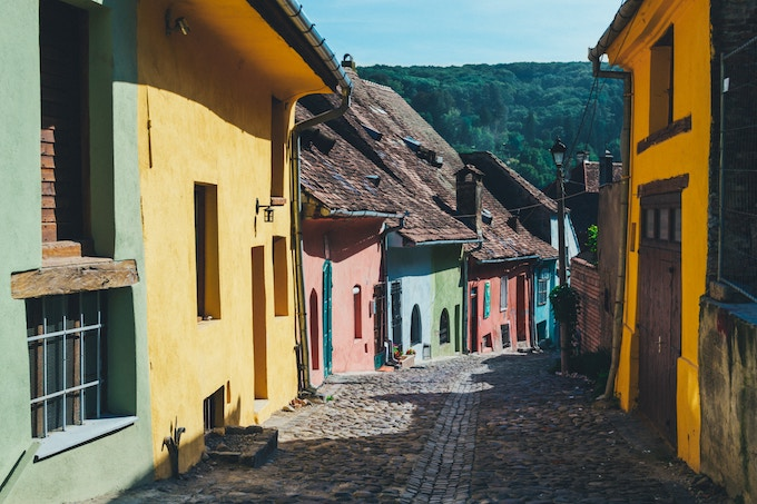 colourful houses in Romania