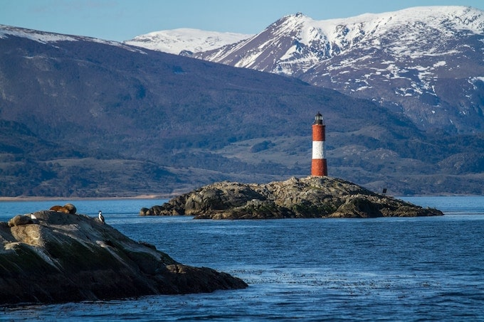 A lighthouse in the ocean in Ushuaia, Argentina
