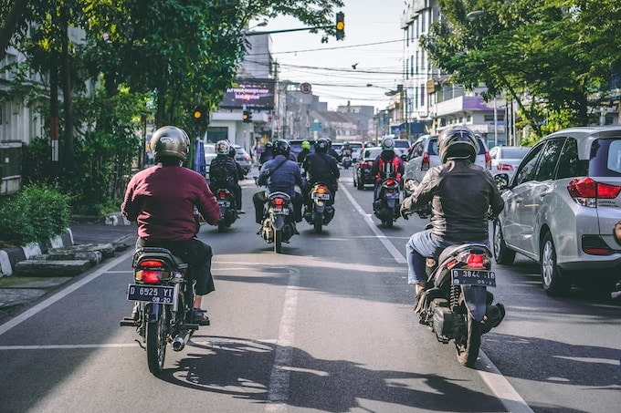 People on motocycles in Bandung, Indonesia