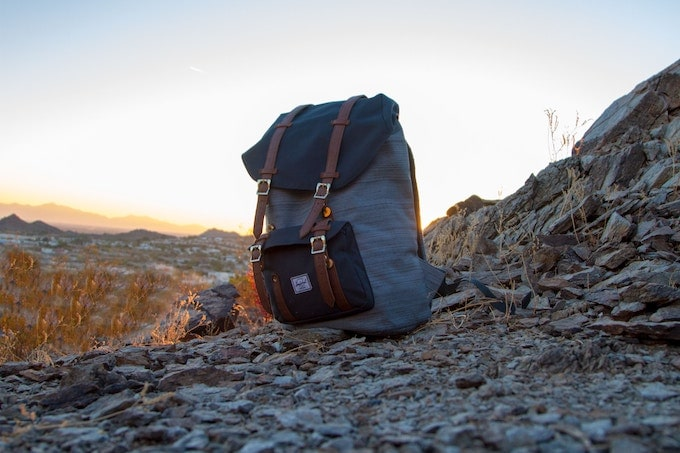 A backpack on a mountain