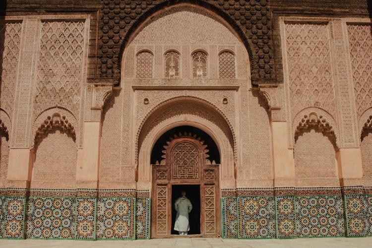 intricate tile work on a facade in Marrakech
